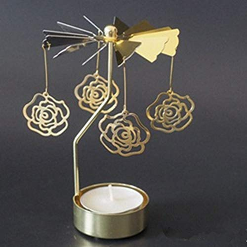 DIAOSUD kandelaar decoratie, gouden roos creatieve Kerstmis draaien draai carrousel waxinelichtje kandelaar centrum kroonluchter party inrichting