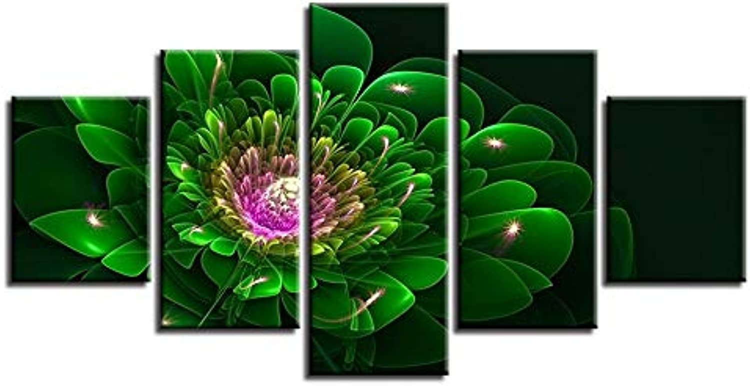 Framed Abstract Modern Home Decor Canvas Print 5 Panel Fractal Flower Wall Art for Living Room Modular Picture