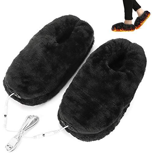 teyiwei 1 Paar Unisex USB Beheizte Hausschuhe für Drinnen Und Draußen Elektrische Heizung Elastomer Frostschutz Samt Hausschuhe Weiche Plüsch Wärmende Füße Schuh für Kalten Winter