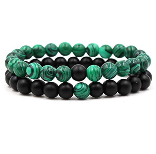 Belons Couple Stretch Bracelet 8mm Green Malachite & Black Matte Agate Energy Stones Beads Bracelets Distance Bracelet Set, 2pcs