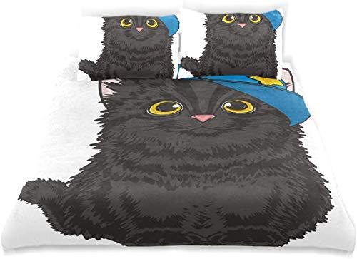 Dodunstyle Juego de Funda nórdica Kitten Black Boy Blue Ca Sit Juego de Cama Decorativo de 3 Piezas Super King Size con 2 Fundas de Almohada Cuidado fácil Anti-alérgico Suave Suave