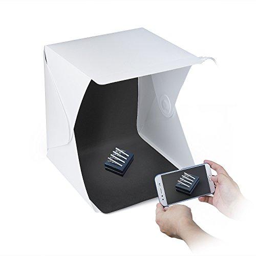 ZWOOS Caja de Fotografía con LED de Luz Fotográfico Tienda Caja de Kit, Mini Plegable Portátil Fotografía Estudio Foto con Fondo Negro/Blanco