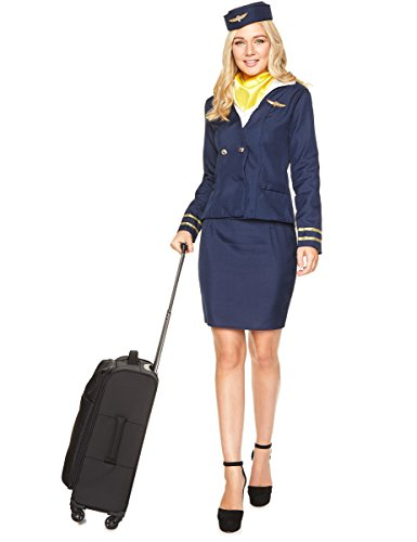Generique Disfraz Aeromoza Azul Mujer XS