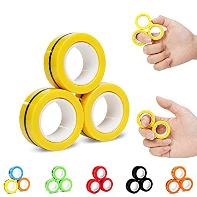 NSKER 3PCS Fidget Toys for Kids-Children Fingertip Magic Rings Office School Stress Toys Props Decompression ADHD Anxiety Adult Rotating Toy Funny Novelty Gifts for Men,Women,Children-Vitality Yellow by NSKER