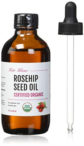 Rosehip Seed Oil by Kate Blanc. USDA Certified Organic, 100% Pure, Cold Pressed, Unrefined. Reduce Acne Scars. Essential Oil for Face, Nails, Hair, Skin. Therapeutic AAA+ Grade. (4 fl oz)