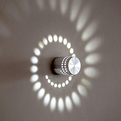 LEDMOMO Applique Murale Spirale Applique Murale 3W Moderne LED Applique pour Chambre, Couloir, Couloir, Bar, Café, Salon (Lumière Blanche)