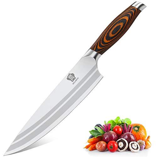 WILDMOK Profi Kochmesser Küchenmesser 20,5cm Messer Chefmesser Allzweckmesser aus Deutscher Edelstahl, Extra Scharfe Messerklinge mit ergonomischer Griff
