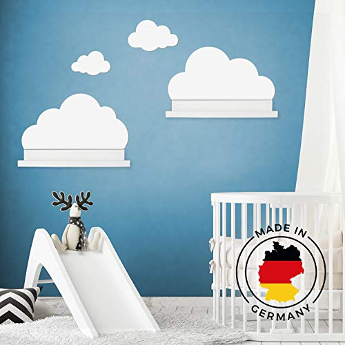 Wandtattoo Wolken in weiß für IKEA Regalbrett Ribba/Mosslanda 55 cm Bilderleiste für Babyzimmer Kinderzimmer – Aufkleber für Wand & Tapete
