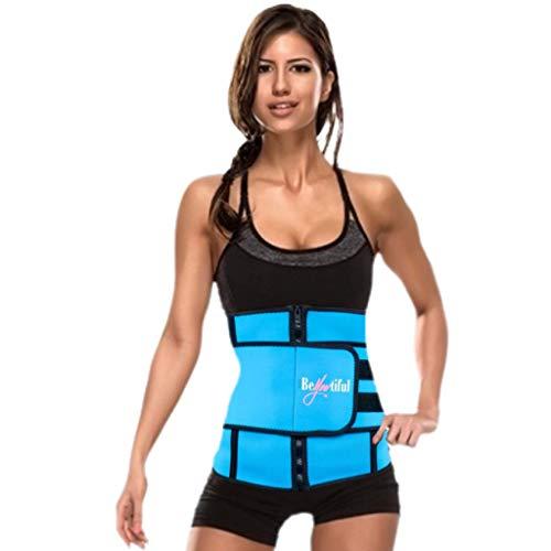 BeYOUtiful Adjustable Waist Trainer, Neoprene Blend Material, Increase Calorie Burn, Body Shaper, Lightweight Fit (Blue, 4X-Large)