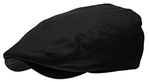 Men's Linen Flat Ivy Gatsby Summer Newsboy Hats (Black, LXL)