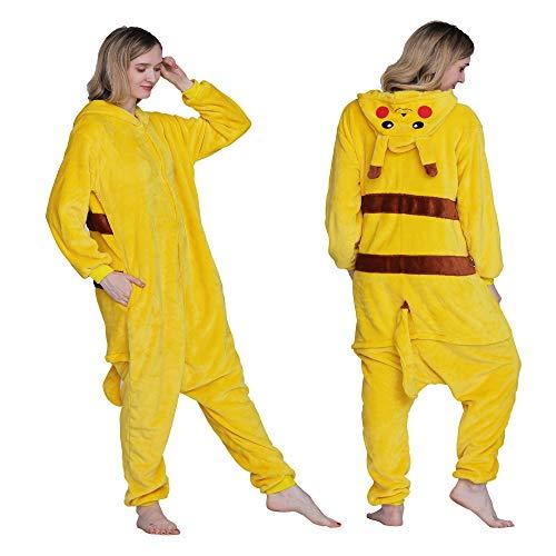 Acenga Unisex Adult Kid Pajamas - Pikachu Onesie Pajamas for Women Adult Cartoon Animal - Christmas Cosplay Costume, Small