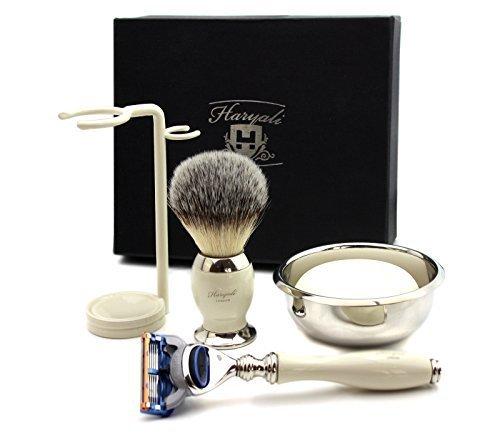 Elfenbein Farbe Rasur Kit Geschenk für Männer mit 5 Edge Razor, synthetische Dachs Rasierpinsel, Edelstahl Schüssel, Rasierseife & Dual Stand