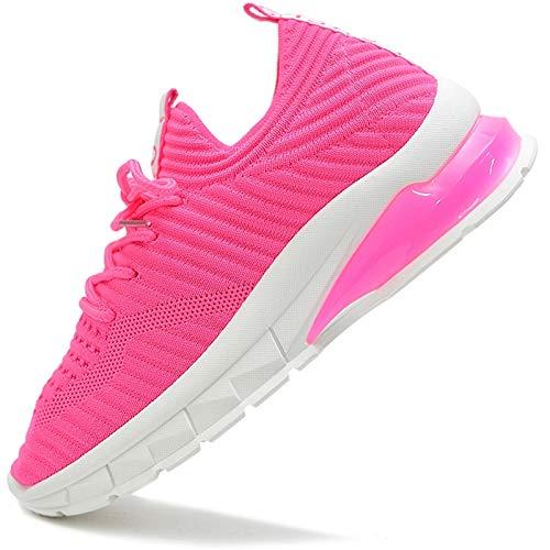 Vain Secrets Damen Sneaker Laufschuhe Sportschuhe Freizeit Schuhe Mesh Elastisch (Pink, Numeric_38)