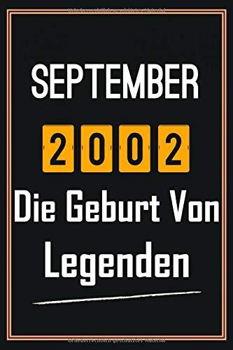 September 2002 Die Geburt von Legenden: 18. geburtstag geschenk jungs mädchen, geschenkideen für 18 jährige Bruder Schwester Freund - Notizbuch a5 liniert
