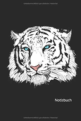 Notizbuch: Schwarz Weißer Tiger Kopf mit blauen Augen (Liniertes Notizbuch mit 100 Seiten für Eintragungen aller Art)