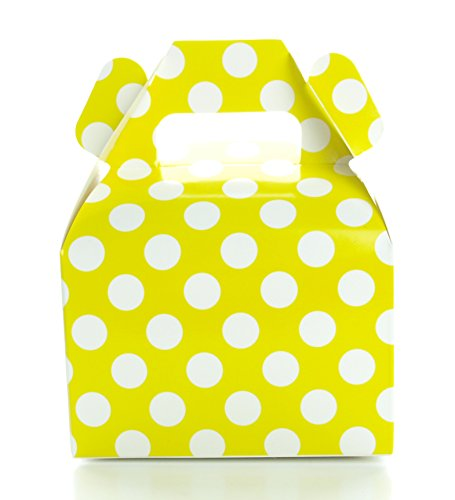 Polka Dot Favor Boxes, Yellow Wedding Favors (12 Pack) - Small Candy Boxes, Yellow Party Supplies, Summer Birthday Party Candy Buffet Supply Boxes