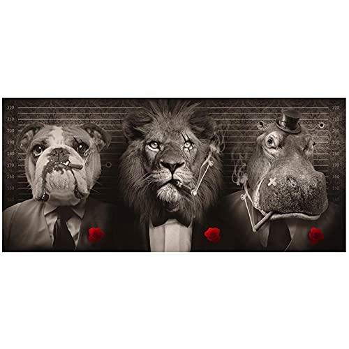 León salvaje negro en un traje Carteles e impresiones artísticos en lienzo León fumando un cigarro Pinturas en lienzo en la pared Imágenes artísticas -50x100cm Sin marco