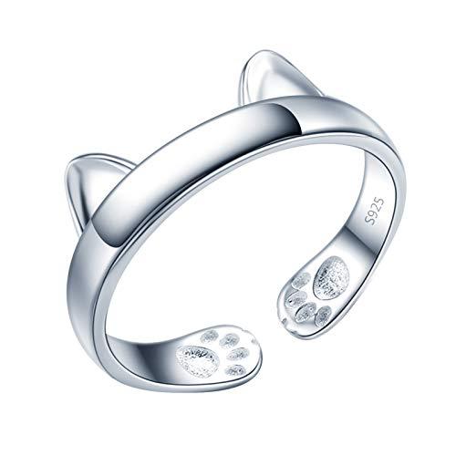 Yumilok Damenring Katze Ohr Pfotenabdruck Ring Ehering Verlobungsring Freundschaftsring Lifestyle-Ring 925 Sterling Silber verstellbar