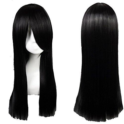 60cm Parrucca Nera Lunga da Donna con Frangia Capelli Neri Lisci Full Wig per Cosplay Halloween Costume Carnevale Party - Nero Scuro