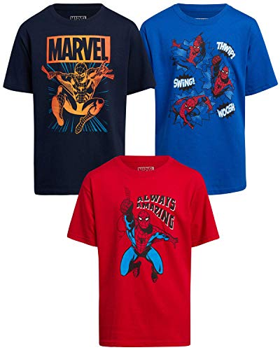 Marvel Spider-Man Boys Spidey T-Shirt (3 Pack) (Royal/Red/Navy, 5/6)