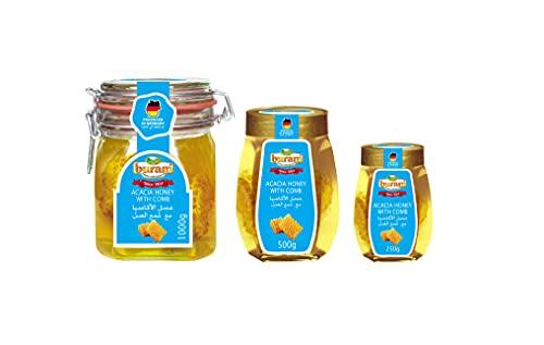 Buram Premium Qualität hochwertiger Honig vom Imker 250gr | 500gr | 1 Kg im Glas | Honigtopf | Verpackung nachhaltig wiederverwendbares Bügelglas - zertifiziert (Akazienhonig mit Wabenstück, 500gr)