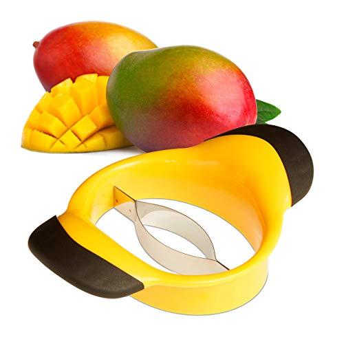 Relaxdays Cortador de mangos, Descorazonador, Mango antideslizante, Cuchilla de acero inox, Negro-amarillo