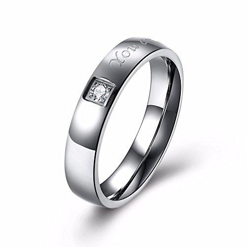 GOZAR Letter Woorden RVS Zirkoon Paar Ring Mannen Sieraden Verjaardagscadeau Voor Bruiloft - Vrouwen - 8