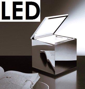 Cini nils lampe de bureau cuboluce &cuboled décoration table lED lampe à effet miroir chromé cubo #289L design franco bettoncia &mario melocchi 1972