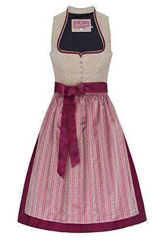 Lieblingsgwand Midi Dirndl 65er Taupe Beere Nadine 006899, Polyester Seide, Rocklänge ca. 65cm, mit Knopfleiste 40