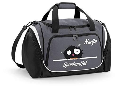 Mein Zwergenland Sporttasche Kinder personalisierbar mit Schuhfach, Kindersporttasche 39L mit Name und Sportmuffel Bedruckt in Grau