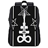 Mochila de viaje,Pentagrama con Demon Baphomet Satánico Cabeza de cabra Símbolo binario Tatuaje Retro,Bolsa para computadora de negocios antirrobo delgada con puerto de carga USB