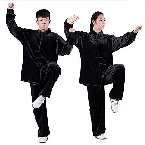 Uniformes Unisex Chinos Tradicionales De Tai Chi, Terciopelo De Otoño E Invierno Más Ejercicio Matutino Ropa De Tai Chi,Artes Marciales Wing Chun Shaolin Kung FuBlack-M
