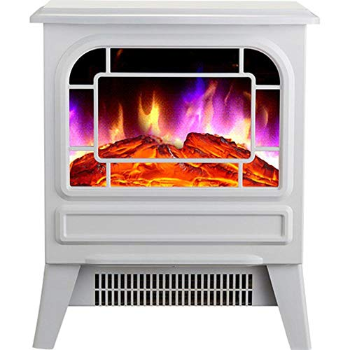 LUCKDRQ Electric Heart Modern Electric Fires Realistic Flame Effect and Real Logs Leed/Black for Living Room 220V