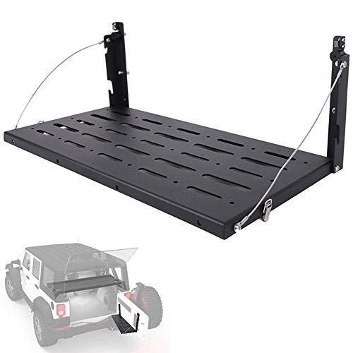 WXQYR Multifunktionale Tür Heckablage Regal und Kofferraum Aufbewahrungshalterung Heckklappe Tisch Gepäckträger Faltbarer Rahmen für Jeep Wrangler JK 2007-2017 CE042