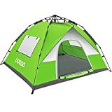 Googo Camping Pop up Tent, 3-4 Person Family Tent Instant Easy Set up Tent with Top Rainfly, Waterproof Windproof, UV Protection for Hiking Mountaineering, 2 Mesh Windows & 2 D-Shaped Doors (Green)