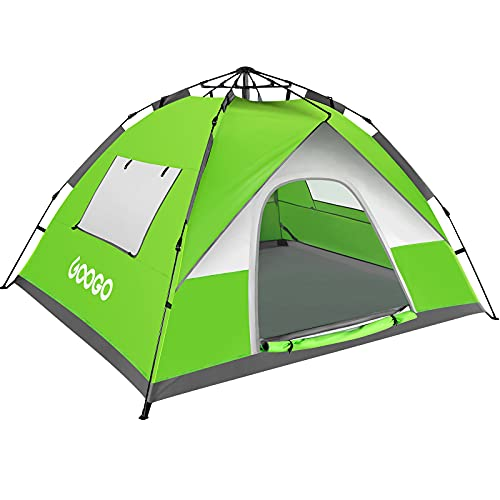 Googo Camping Pop up Tent, 2-3 Person Family Tent Instant Easy Set up Tent with Top Rainfly, Waterproof Windproof, UV Protection for Hiking Mountaineering, 2 Mesh Windows & 2 D-Shaped Doors (Green)