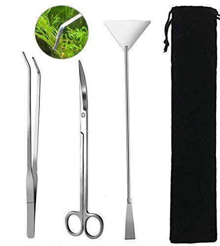 Goodn Juego de herramientas de mantenimiento de acuario, 3 unidades, pinzas y tijeras para plantas vivas, hierba, acuario, pecera, kit de herramientas de limpieza (3 piezas, plata)