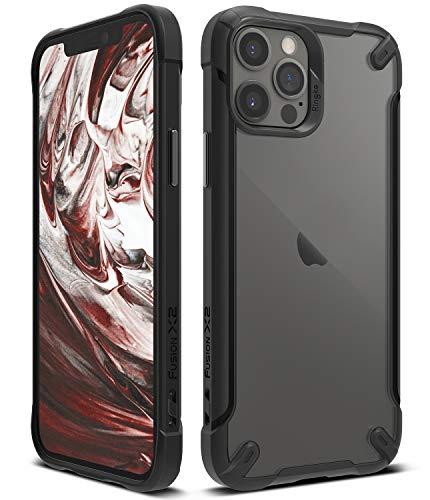 【Ringke】iPhone 12 ケース iPhone 12 Pro ケース 6.1 インチ 対応 ストラップホール付き アーマー ケース クリア 透明 落下防止 スマホケース カバー Qi 充電 アイフォン12 ケース アイフォン12プロケース Fusion-X2 (Black ブラック)