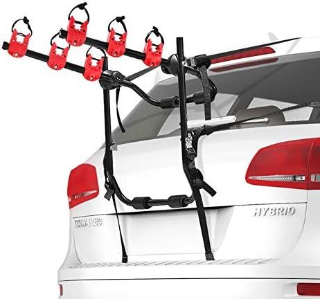 FIERYRED Trunk Mounted Bike Rack for Most Car SUV Sedans Hatchbacks Minivans 3 Bike Trunk Mount product image