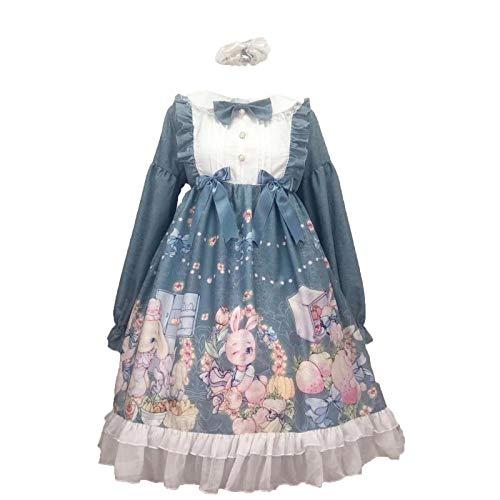 Vestido de manga larga con estampado de dibujos animados de encaje para mujer, bonito vestido de fiesta de princesa, regalo de cumpleaos, disfraz de cosplay
