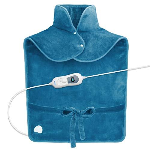 60 x 90cm RENPHO almohadilla térmica electrica para el alivio del dolor de espalda ponderada para el cuello y los hombros, calentamiento rápido con 3 ajustes de temperatura - azul