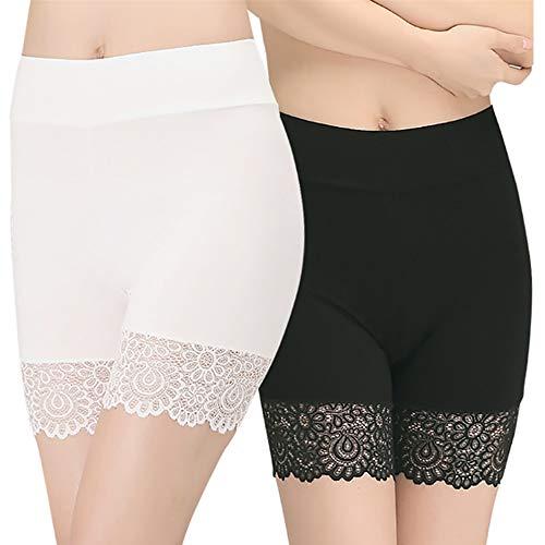 Damen Basic Unterhose mit halblangem Bein, Anti-Scheuern, Baumwolle, Shorts, halblanges Bein, Höschen, weiche Boxershorts, Unterwäsche Gr. One size, Style1-schwarz+weiß