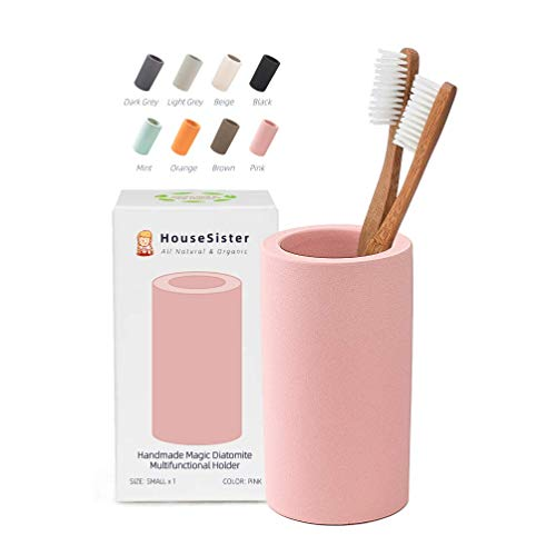 HouseSister Organic Diatomite Toothbrush Toothpaste Makeup Brushes Razors Holder Bathroom Countertop Organizer Stand Cup Organizer (Pink)