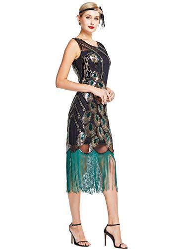 MISSCHEN 1920s Kleid Damen Pfau Muster Flapper Charleston Kleid Gatsby Pailletten Quasten Saum Cocktail Flapper Abschlussball Kleid YLS019 L Schwarz mit grauen Fransen
