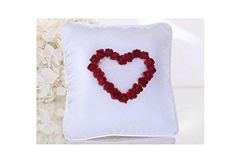 Cojín blanco con rosas corazón rojo y anillo funda, 20 x 20 cm