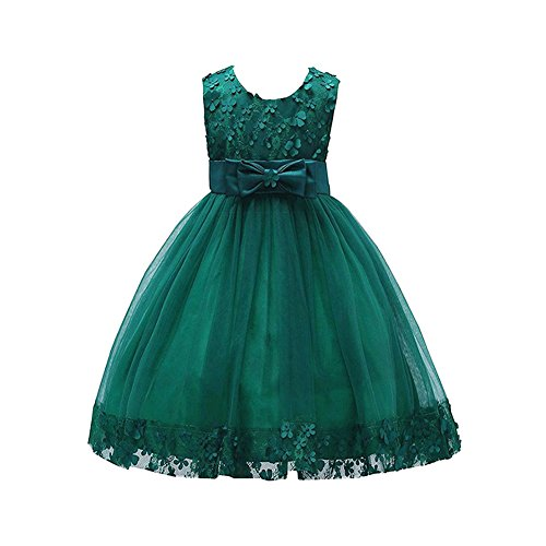 Weileenice 1-14T Big/Little Girl Ball Gown Lace Christmas Party Dresses A-line Flower Girls Dress Wedding Halloween Fancy Princess Bridesmaid Kids Gown (6-7 Years/Label 12, 314-DG)