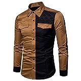 IMJONO Mens Shirts Herren Langarm Oxford Formelle Casual Anzüge Slim Fit T-Shirt Hemden Bluse Top(X-Large,Khaki)