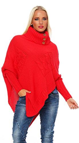 Mississhop Poncho Strick Sweatshirt Pullover Umhang Überwurf 30-01 Korall