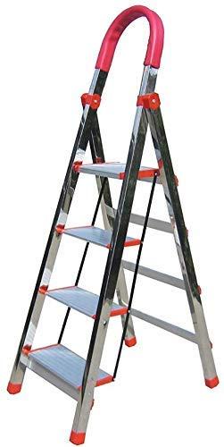 Qazxsw Taburete de Escalera Plegable de Acero Inoxidable con 4 escalones, Taburete de Escalera con pasamanos Conveniente para el hogar, Taburete de pie portátil, Carga 200 kg