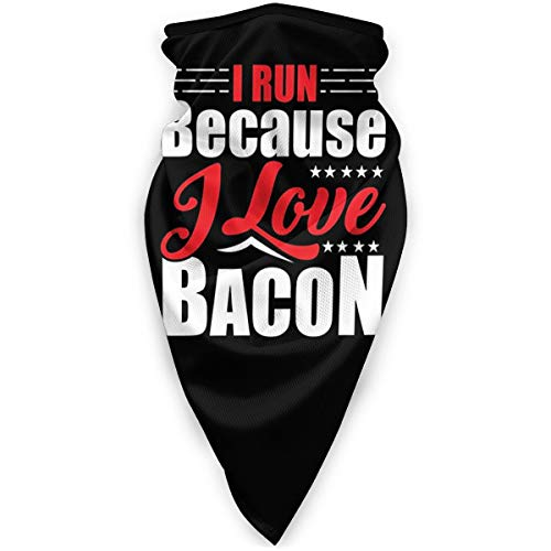 I Run Because I Love Bacon Outdoor Face Mouth Mask Windproof Sports Mask Ski Mask Shield Scarf Bandana Men Woman Black